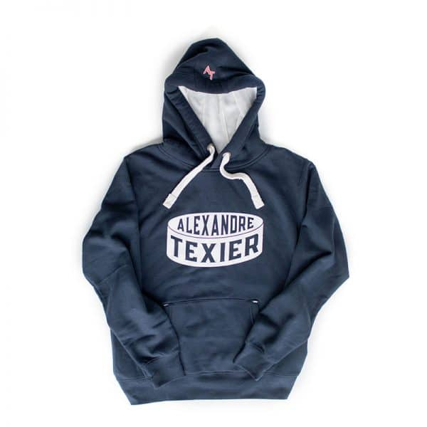 Sweatshirt bleu navy avec imprimé d'un palet de hockey signé Alexandre Texier