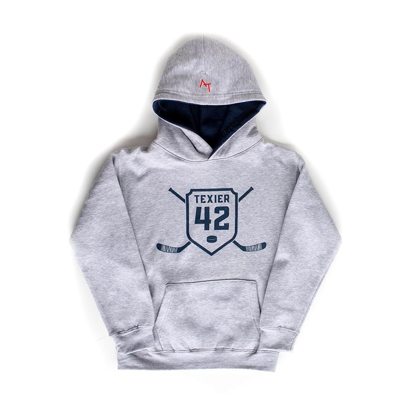 Sweatshirt gris avec imprimé de crosses de hockey et écusson 42 signé Alexandre Texier