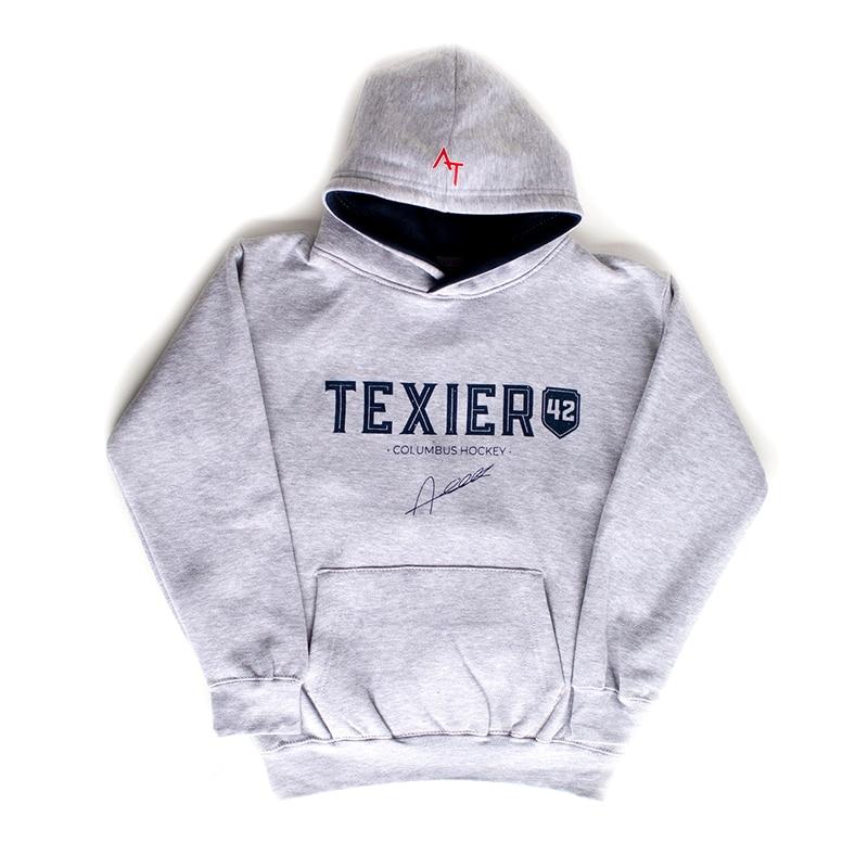 Sweatshirt gris avec imprimé Texier 42 Columbus Hockey signé Alexandre Texier