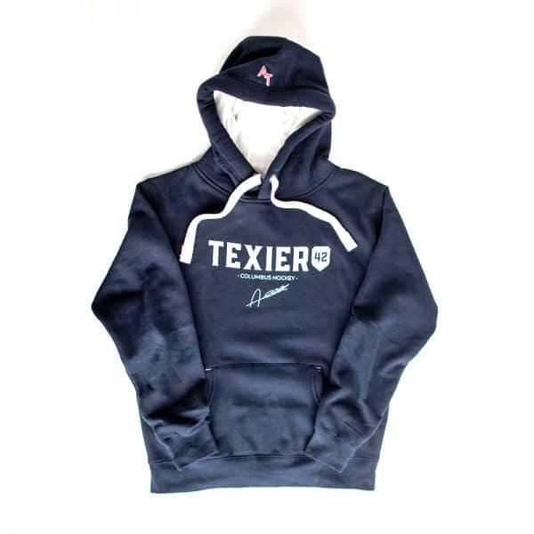 Sweatshirt bleu navy avec imprimé Texier 42 Columbus Hockey signé Alexandre Texier