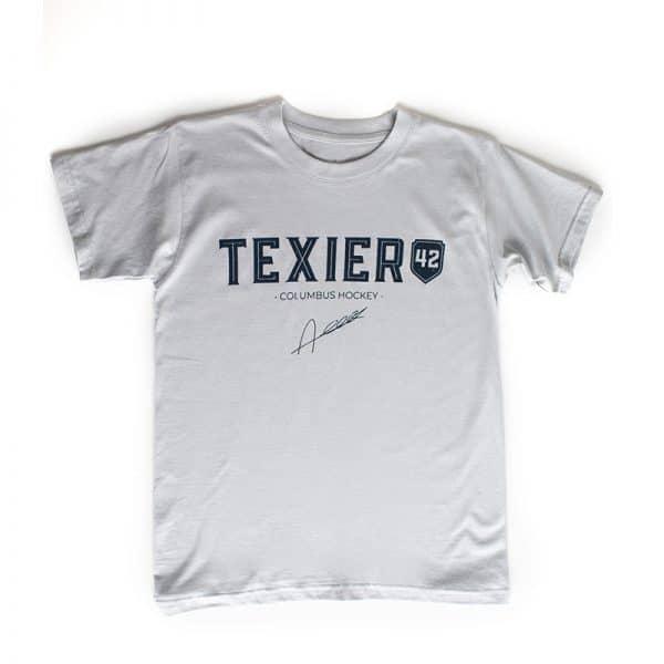 T-shirt gris avec imprimé Texier 42 Columbus Hockey signé Alexandre Texier