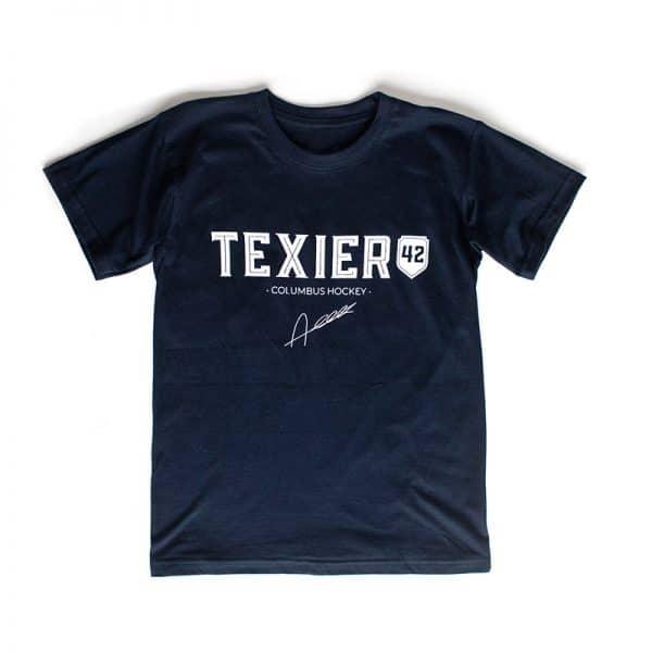 T-shirt bleu navy avec imprimé Texier 42 Columbus Hockey signé Alexandre Texier