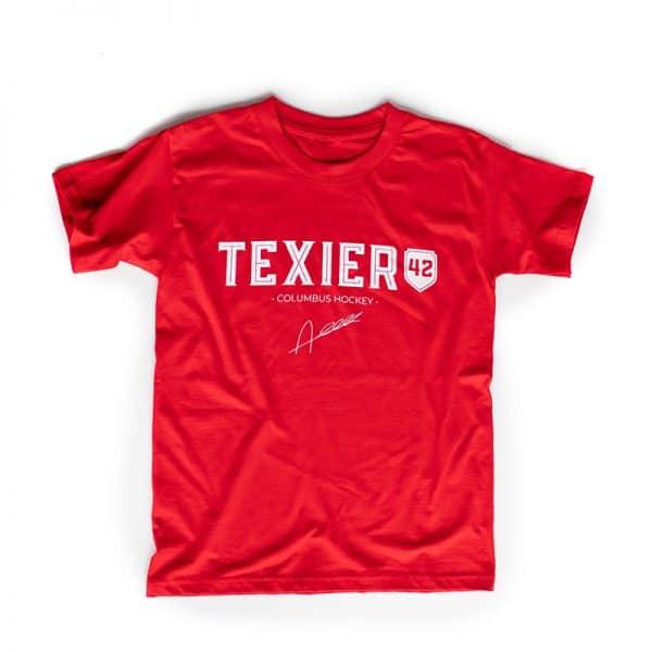 T-shirt rouge avec imprimé Texier 42 Columbus Hockey signé Alexandre Texier